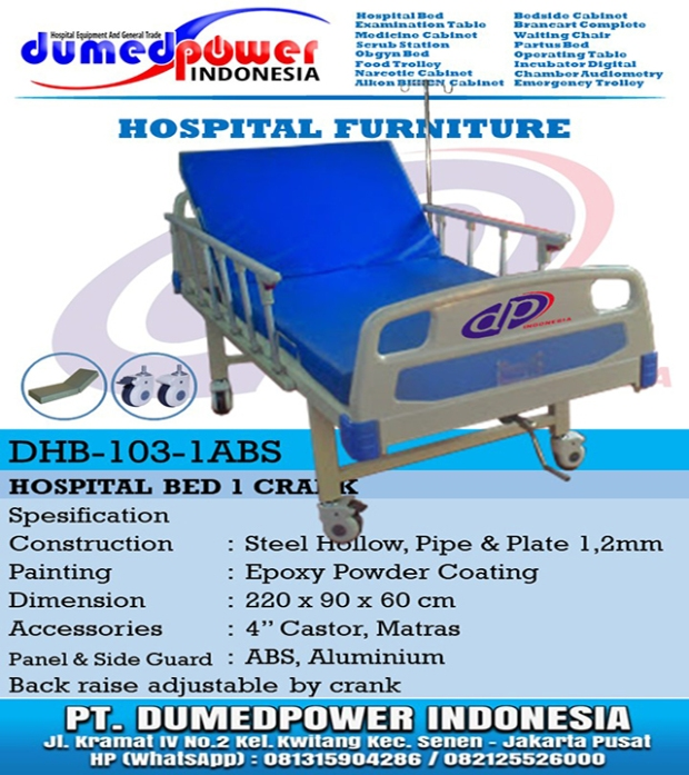 Ranjang Pasien Rumah Sakit Manual 1 Crank DHB-103-1ABS